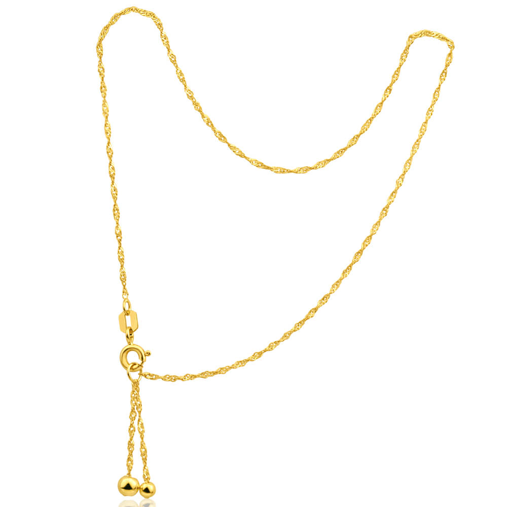 9ct Yellow Gold Silver Filled Singapore Anklet