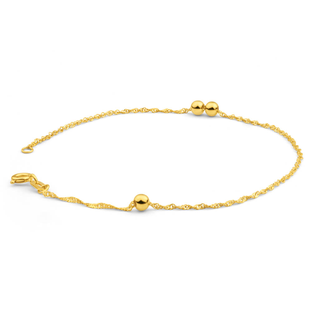 9ct Yellow Gold Silver Filled Singapore Ball 19cm Bracelet
