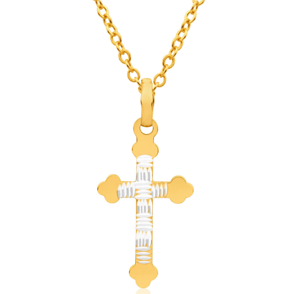 9ct Yellow Gold Silver Filled Fancy Cross Pendant