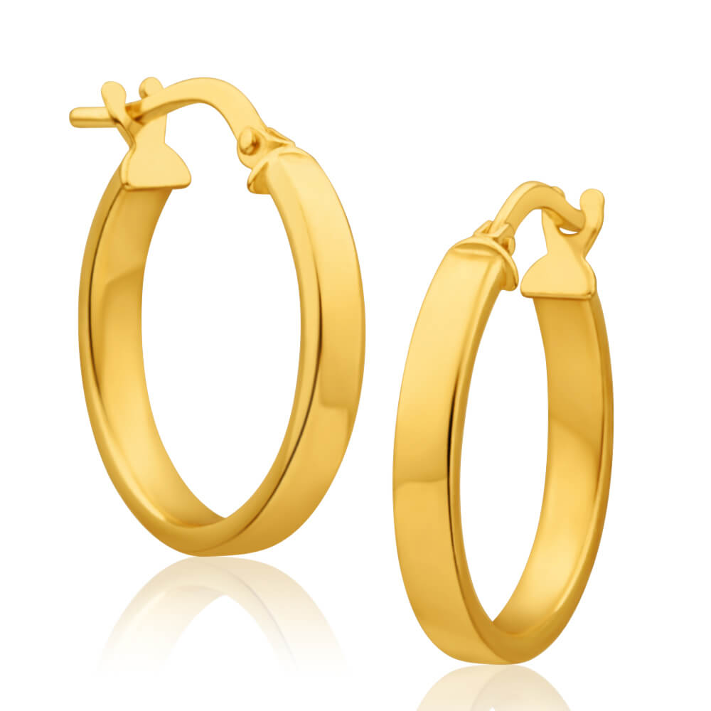 9ct Yellow Gold Silver Filled Square Edge 15mm Hoop Earrings