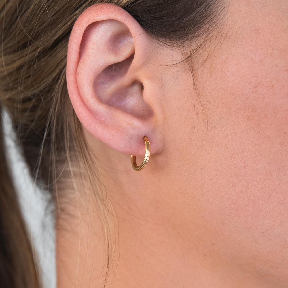 9ct Yellow Gold Silver Filled Twist Hoop Earrings