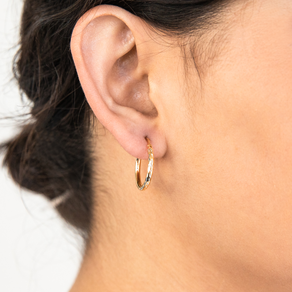 9ct Yellow Gold Silver Filled 15mm Hoop Earrings with diamond cut feature
