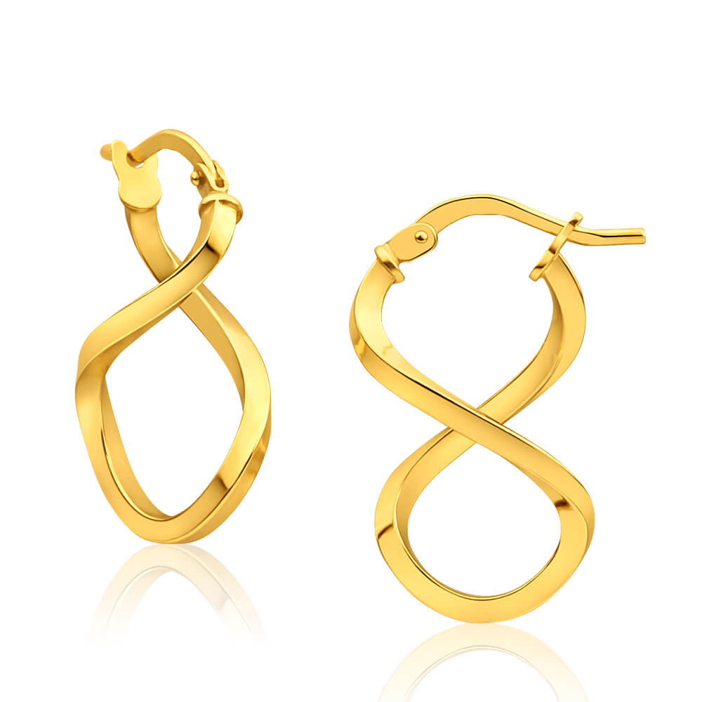 9ct Yellow Gold Silver Filled Figure 8 Hoop Earrings