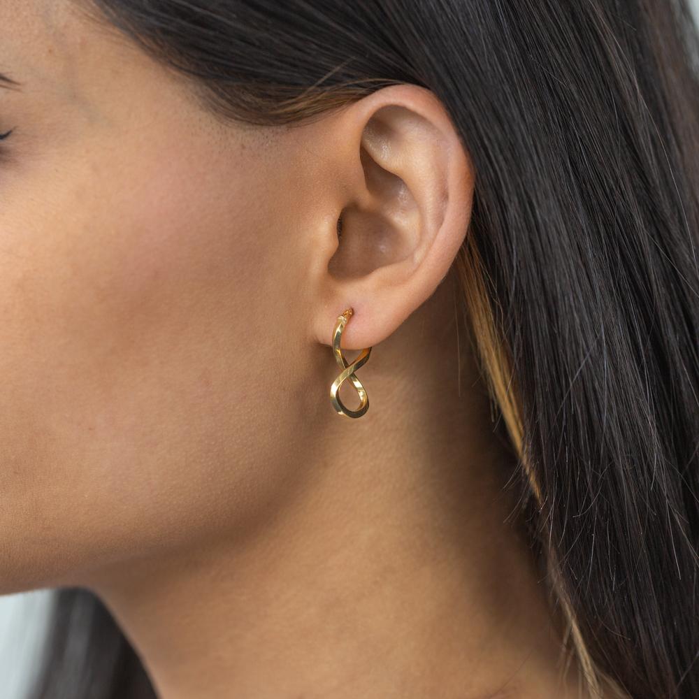 9ct Yellow Gold Silver Filled Figure 8 Hoop Earrings