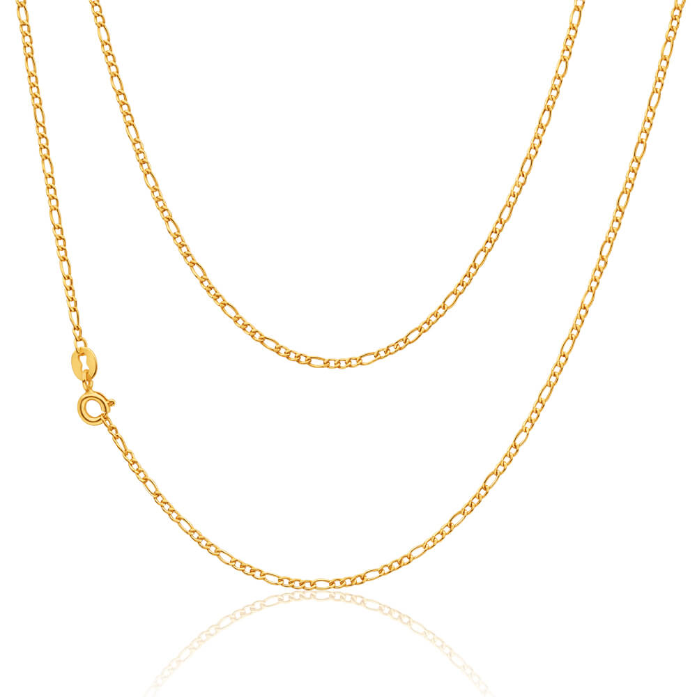 9ct Yellow Gold Silver Filled 45cm Figaro Chain 40 Gauge
