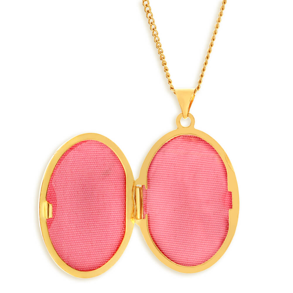 9ct Yellow Gold Silver Filled Oval Shaped Locket