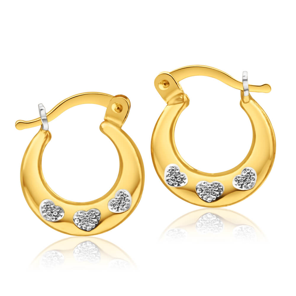 9ct Yellow Gold Silver Filled Hearts 14mm Hoop Earrings