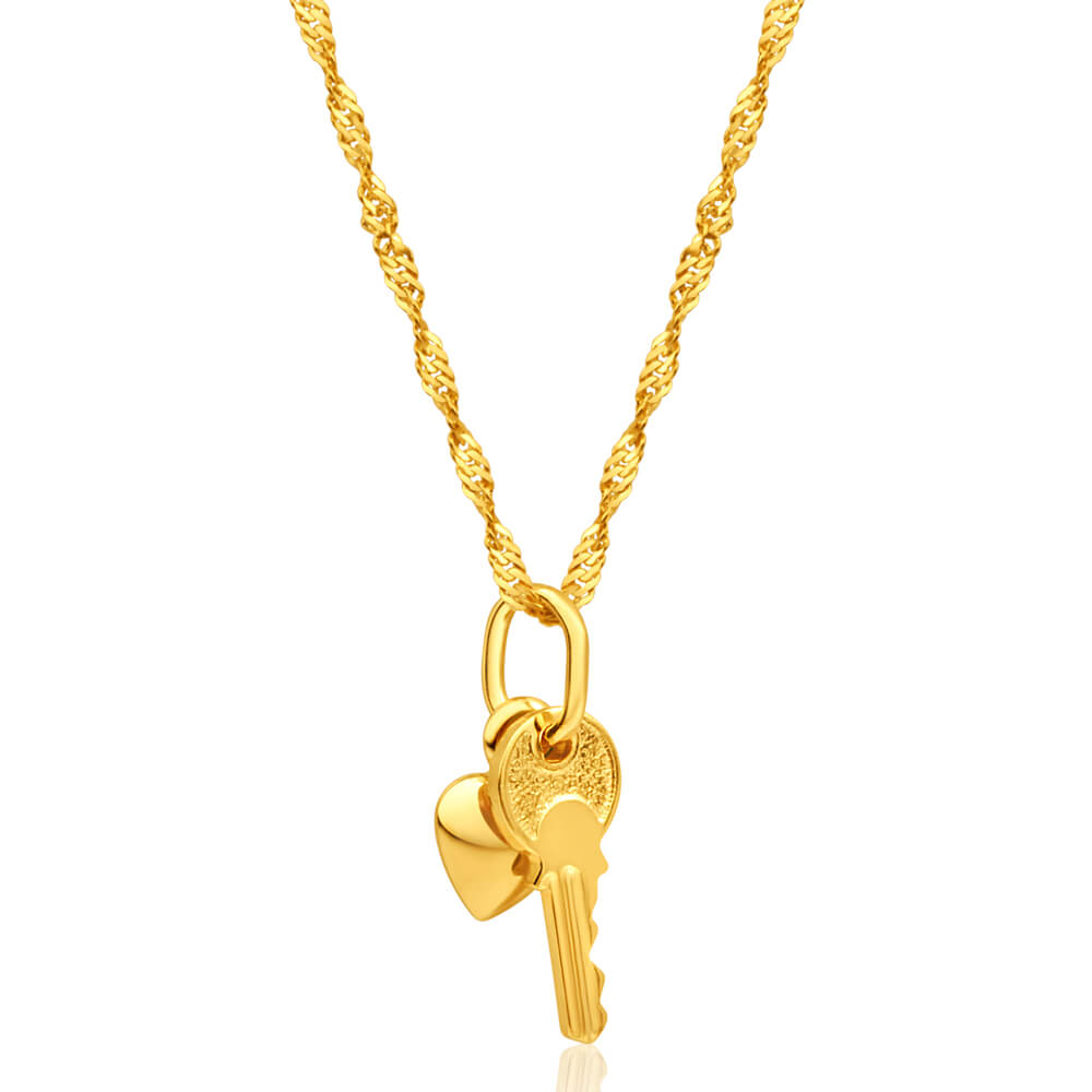 9ct Yellow Gold Silver Filled Heart & Key Pendant With 45cm Chain
