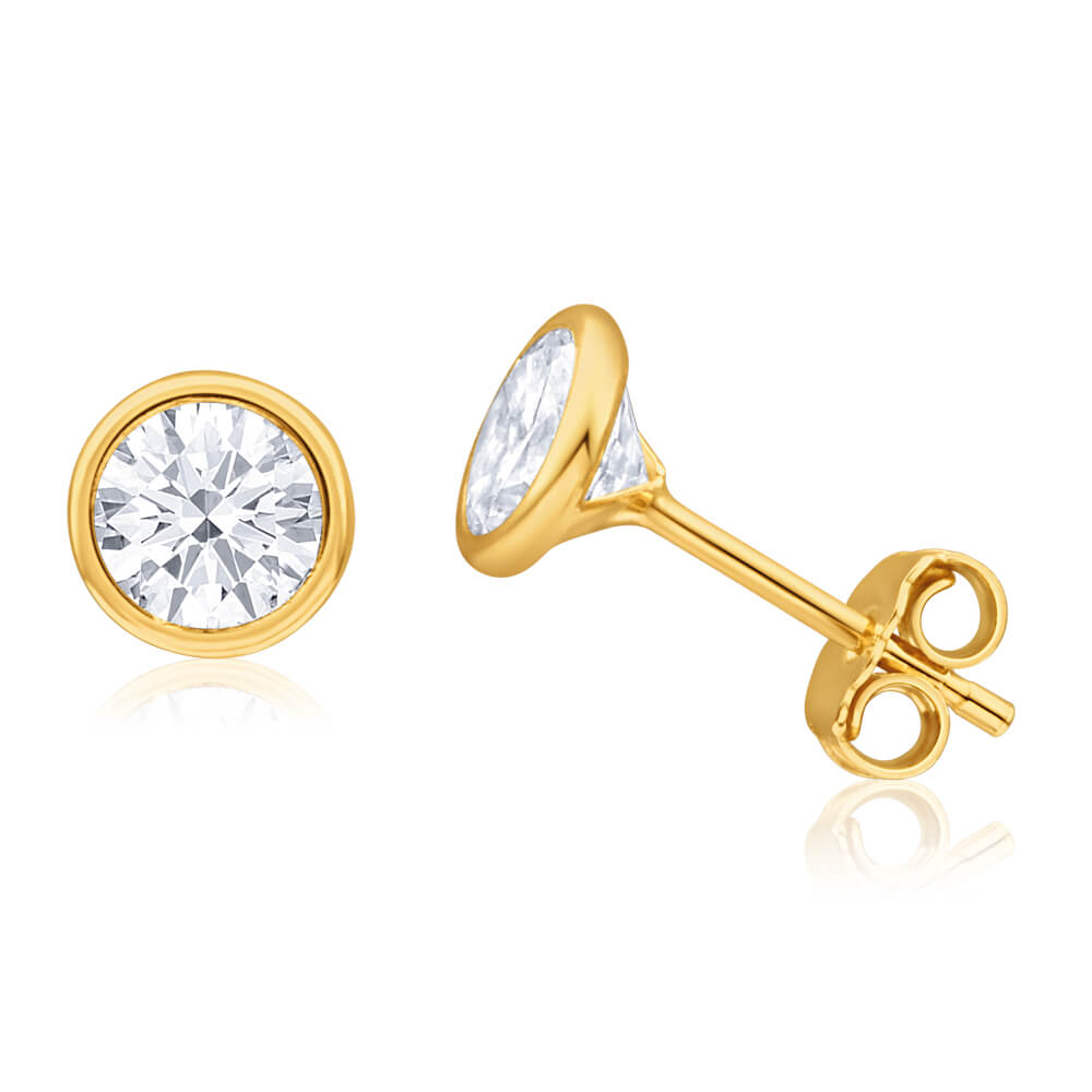 9ct Yellow Gold Silver Filled Cubic Zirconia 6mm Round Stud Earrings