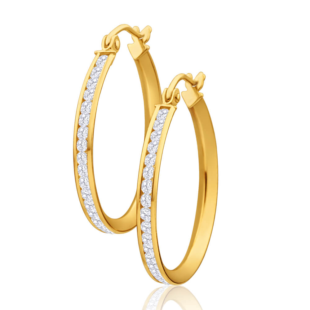 9ct Yellow Gold Silver Filled Cubic Zirconia 23mm Hoop Earrings