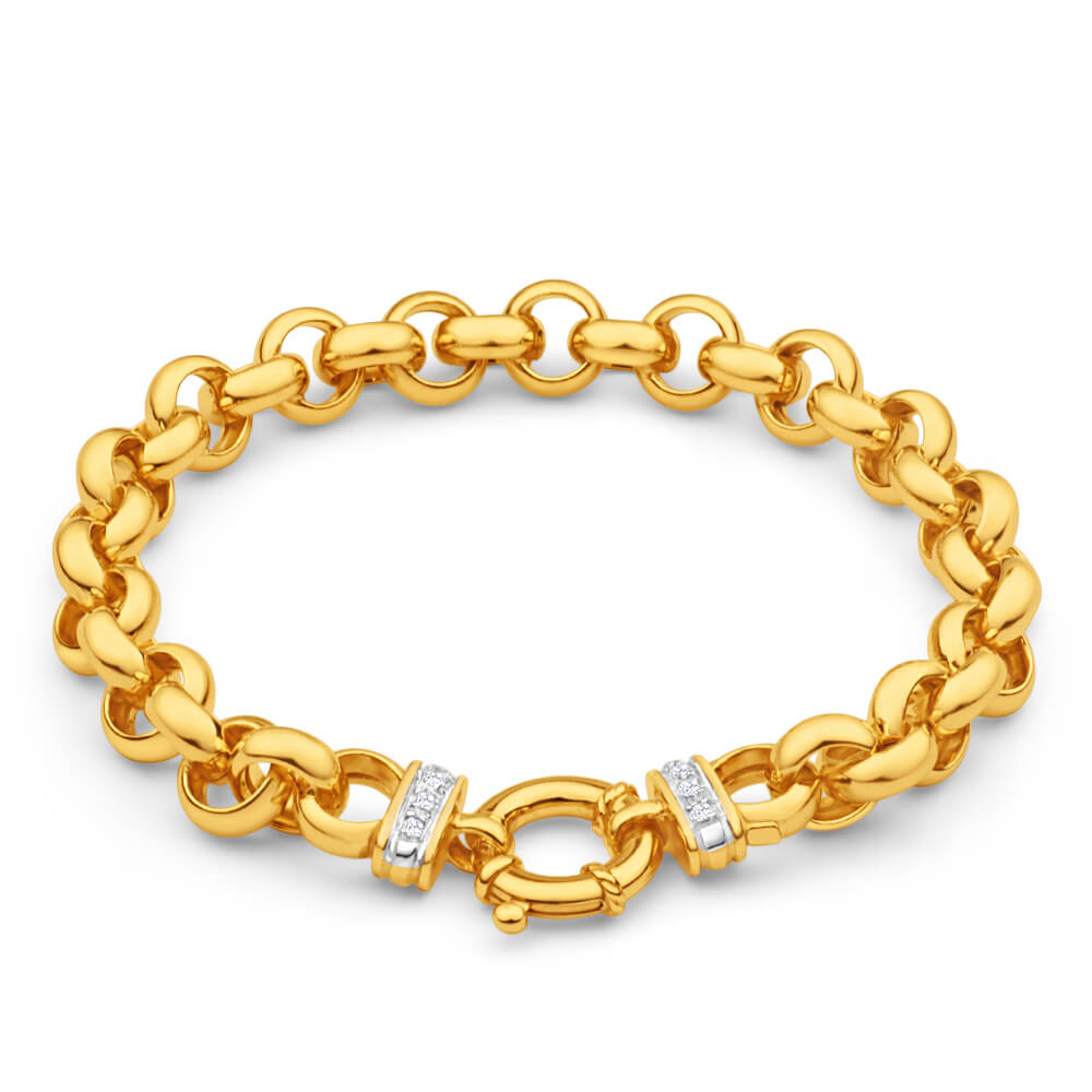 9ct Yellow Gold Silver Filled Cubic Zirconia Belcher 20cm Bracelet