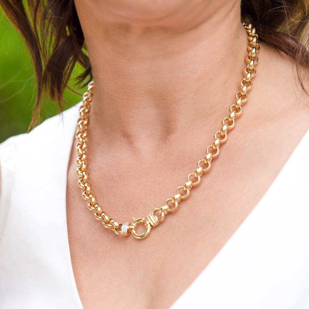 9ct Yellow Gold Silver Filled Cubic Zirconia Belcher darling 50cm Chain