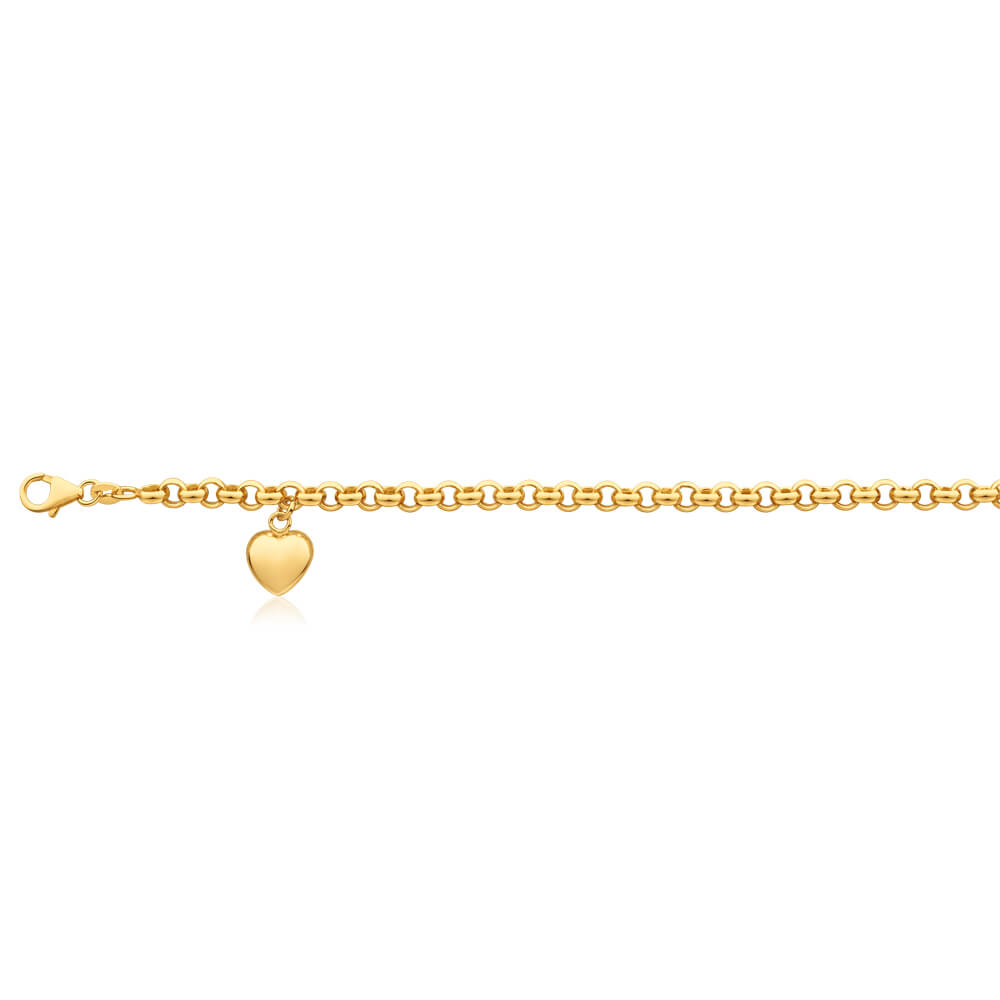 9ct Charming Yellow Gold Silver Filled Belcher Anklet