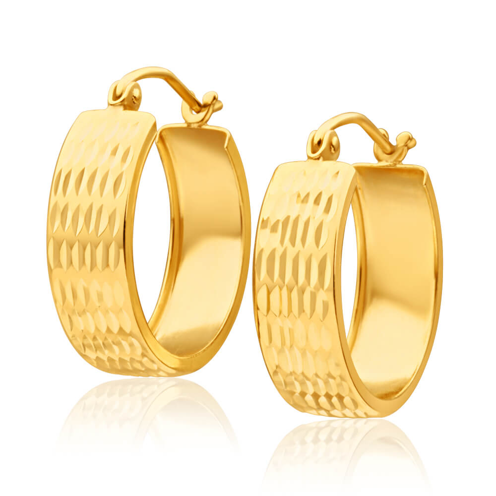 9ct Yellow Gold Silver Filled Groove Hoop Earrings