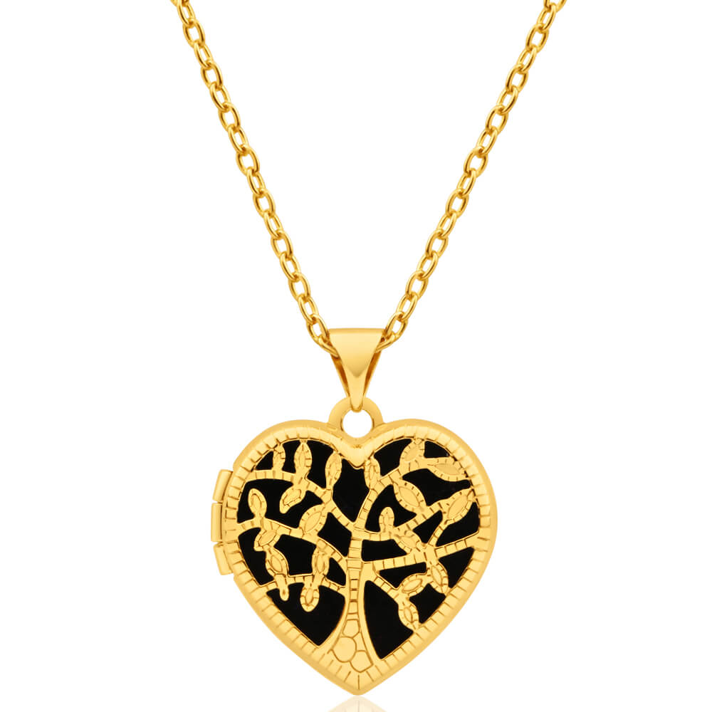 9ct Yellow Gold Silver Filled Heart Shaped filigree Tree of Life 18mm Locket Pendant