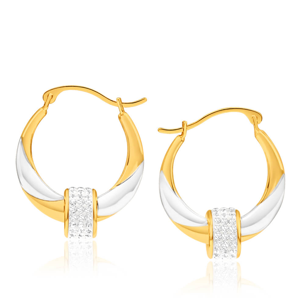 9ct Yellow Gold Silver Filled Crystal Spinner 2 Tone Hoop Earrings