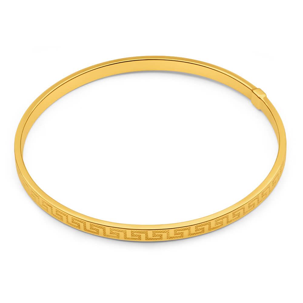 9ct Yellow Gold Silver Filled Greek Key Bangle