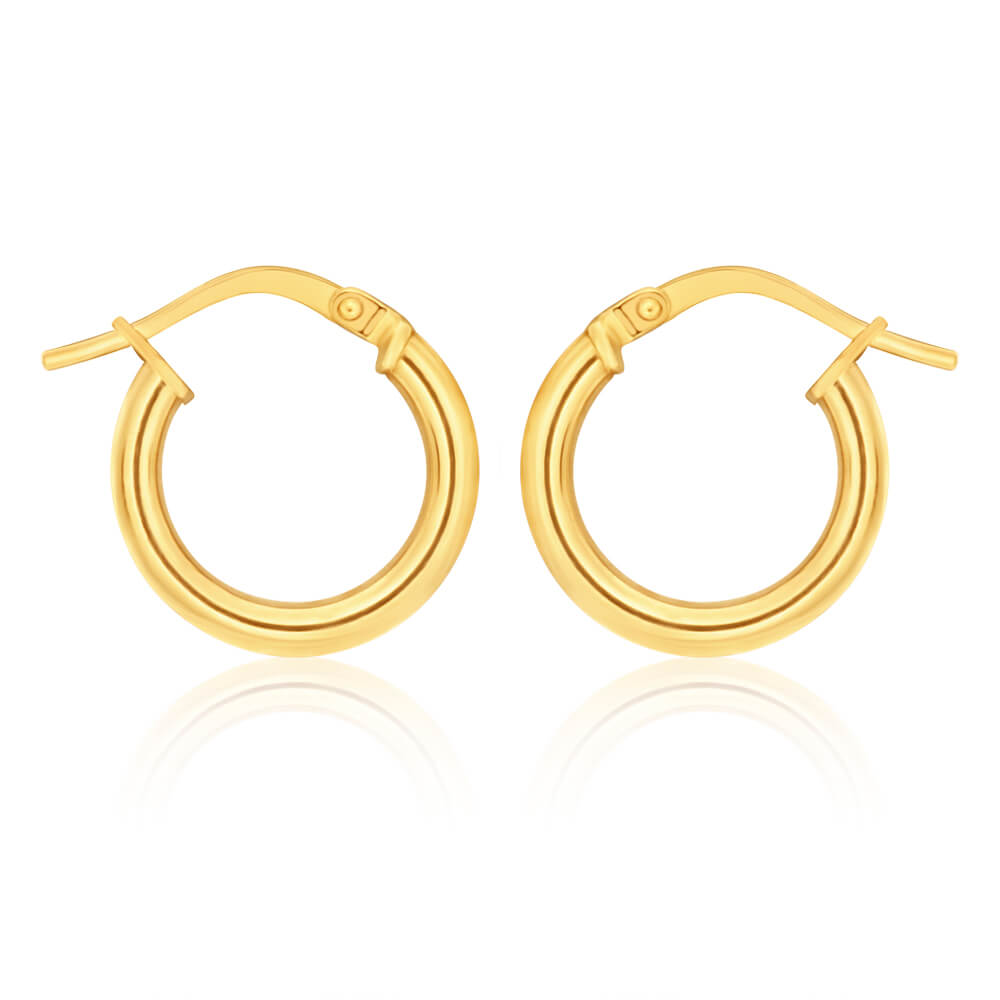 9ct Yellow Gold Silver Filled plain 10mm Hoop Earrings