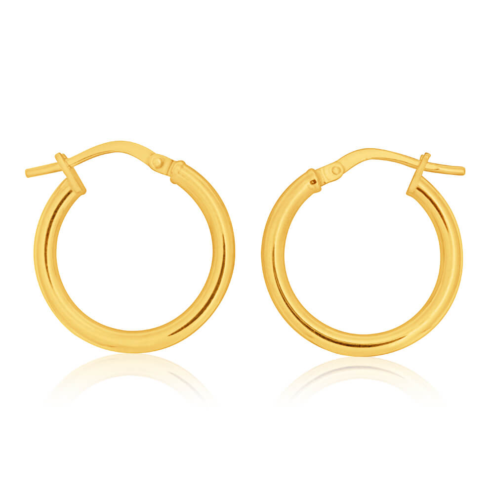 9ct Yellow Gold Silver Filled plain 15mm Hoop Earrings