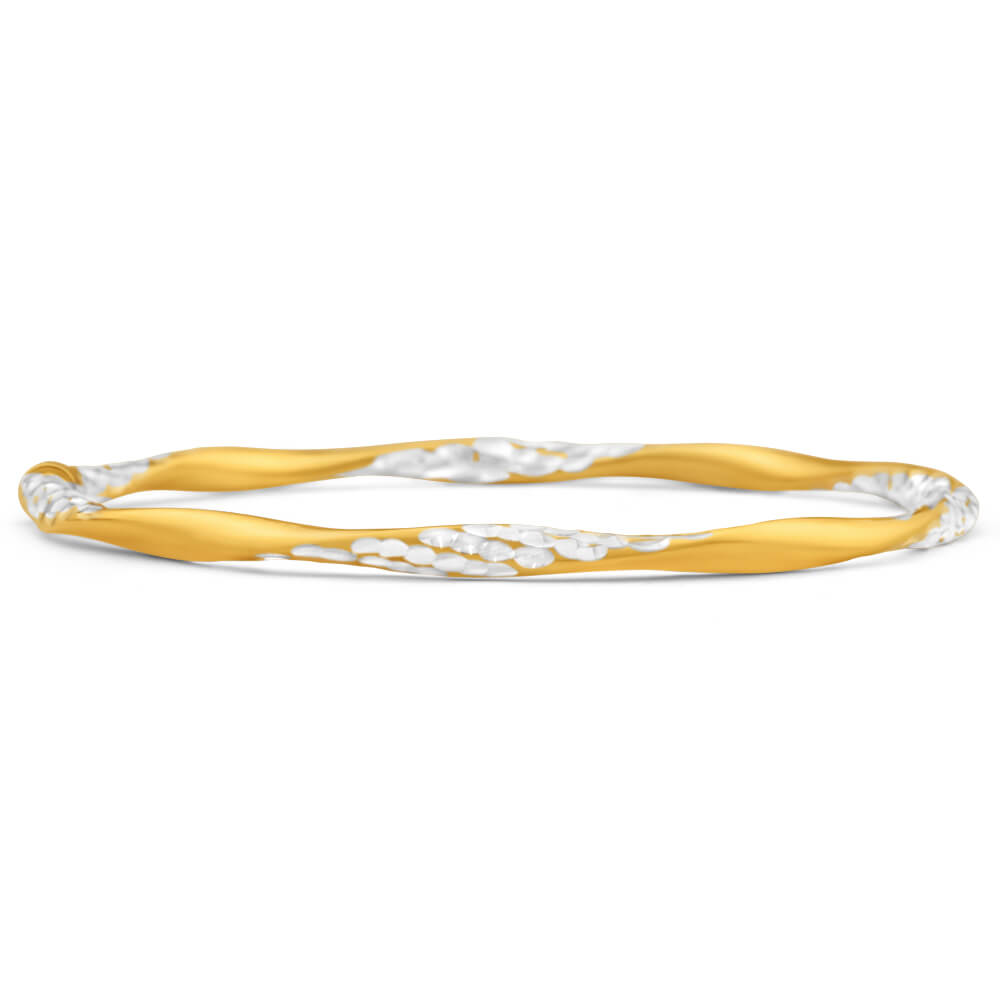 9ct Yellow Gold Silver Filled Dia Cut 65mm Bangle
