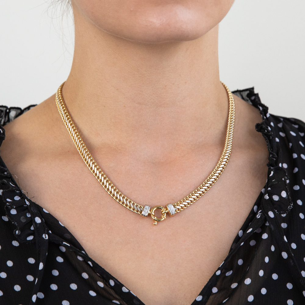 9ct Yellow Gold Silver Filled Cubic Zirconia Mesh Chain