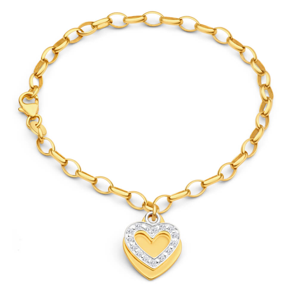 9ct Yellow Gold Silver Filled Cubic Zirconia Belcher Heart Charm 19cm Bracelet