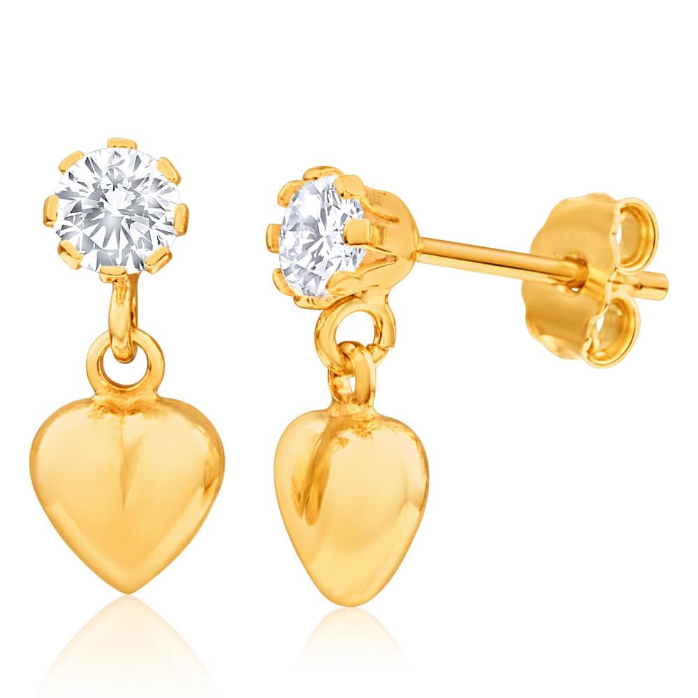 9ct Yellow Gold Silver Filled Cubic Zirconia Heart Drop Earrings