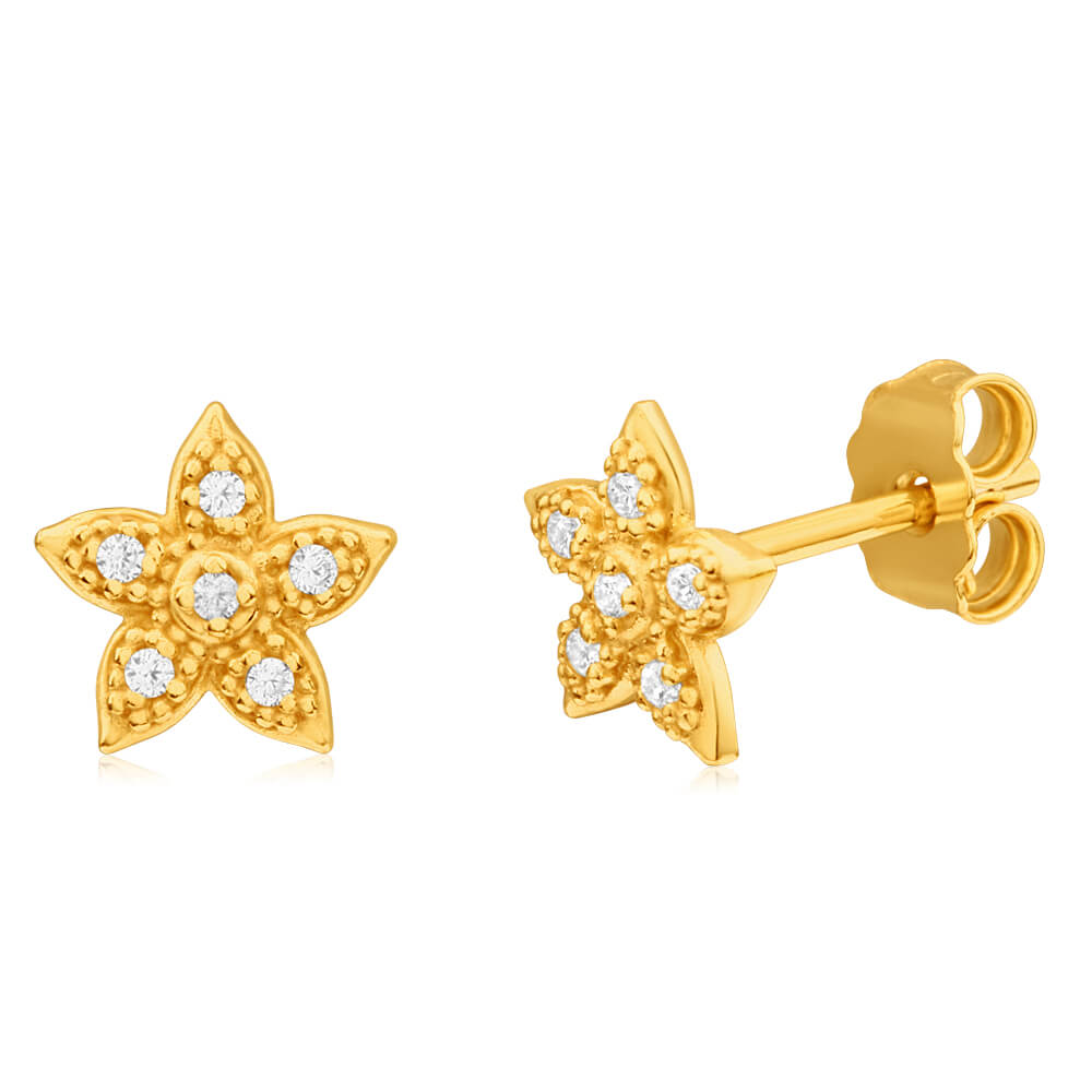 9ct Yellow Gold Silver Filled Cubic Zirconia Star Stud Earrings
