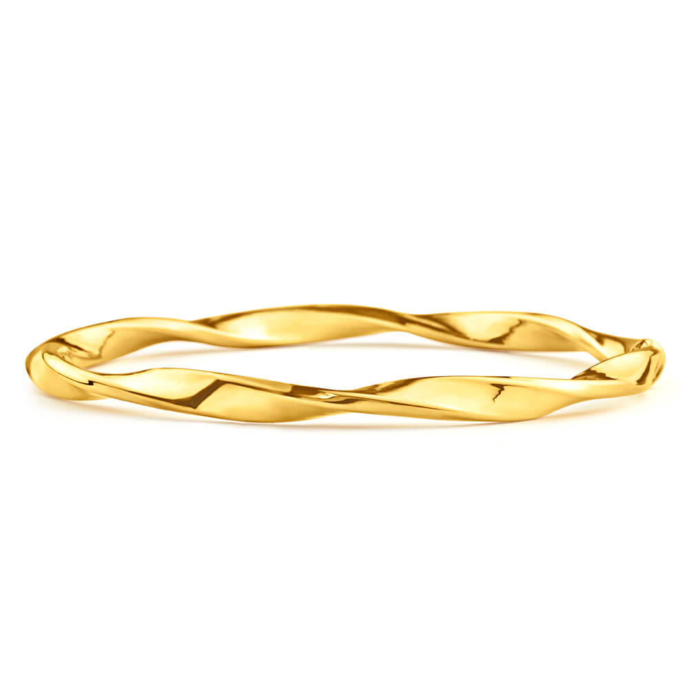 9ct Yellow Gold Silver Filled 65mm Bangle