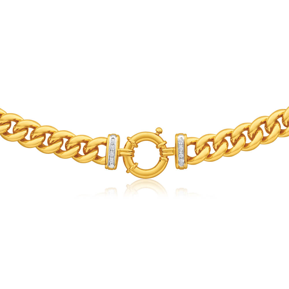 9ct Yellow Gold Silver Filled Cubic Zirconia50cm  Curb Chain