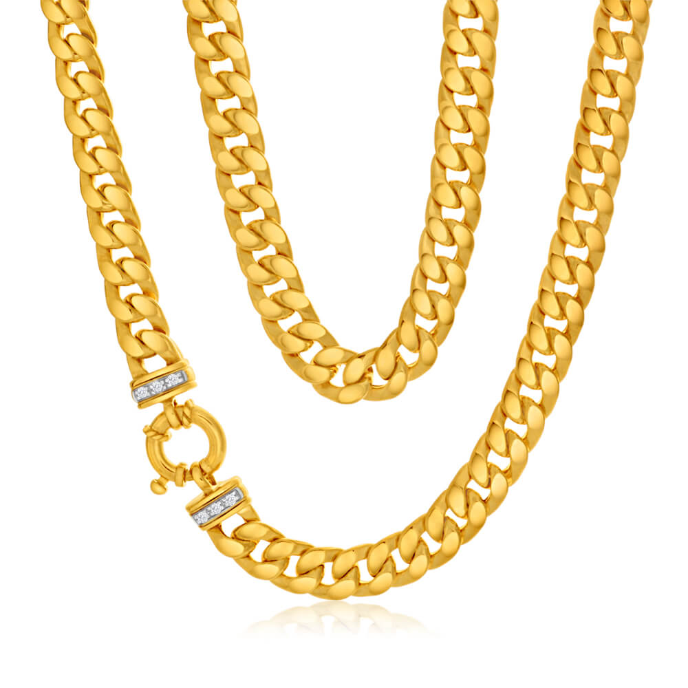 9ct Yellow Gold Silver Filled Zirconia Curb Chain