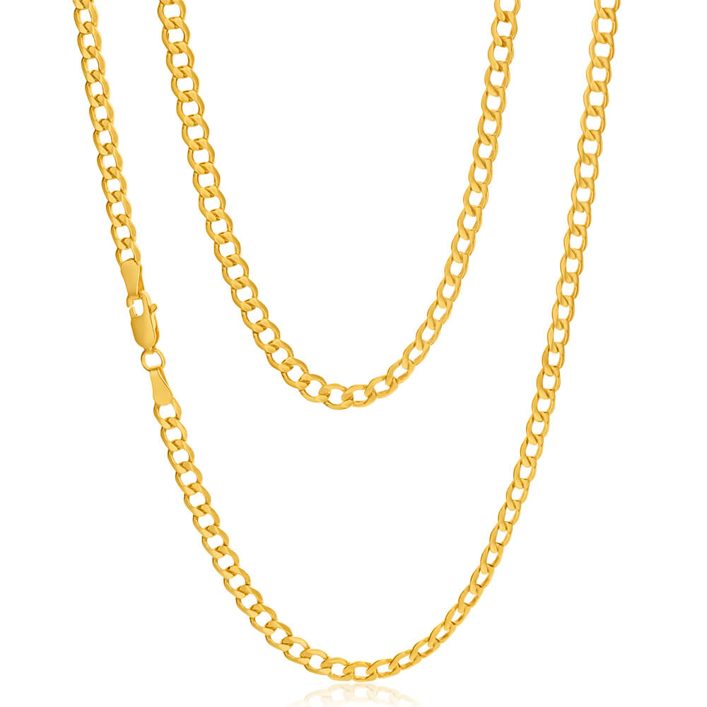 9ct Yellow Gold Silver Filled Flat 55cm Curb Chain