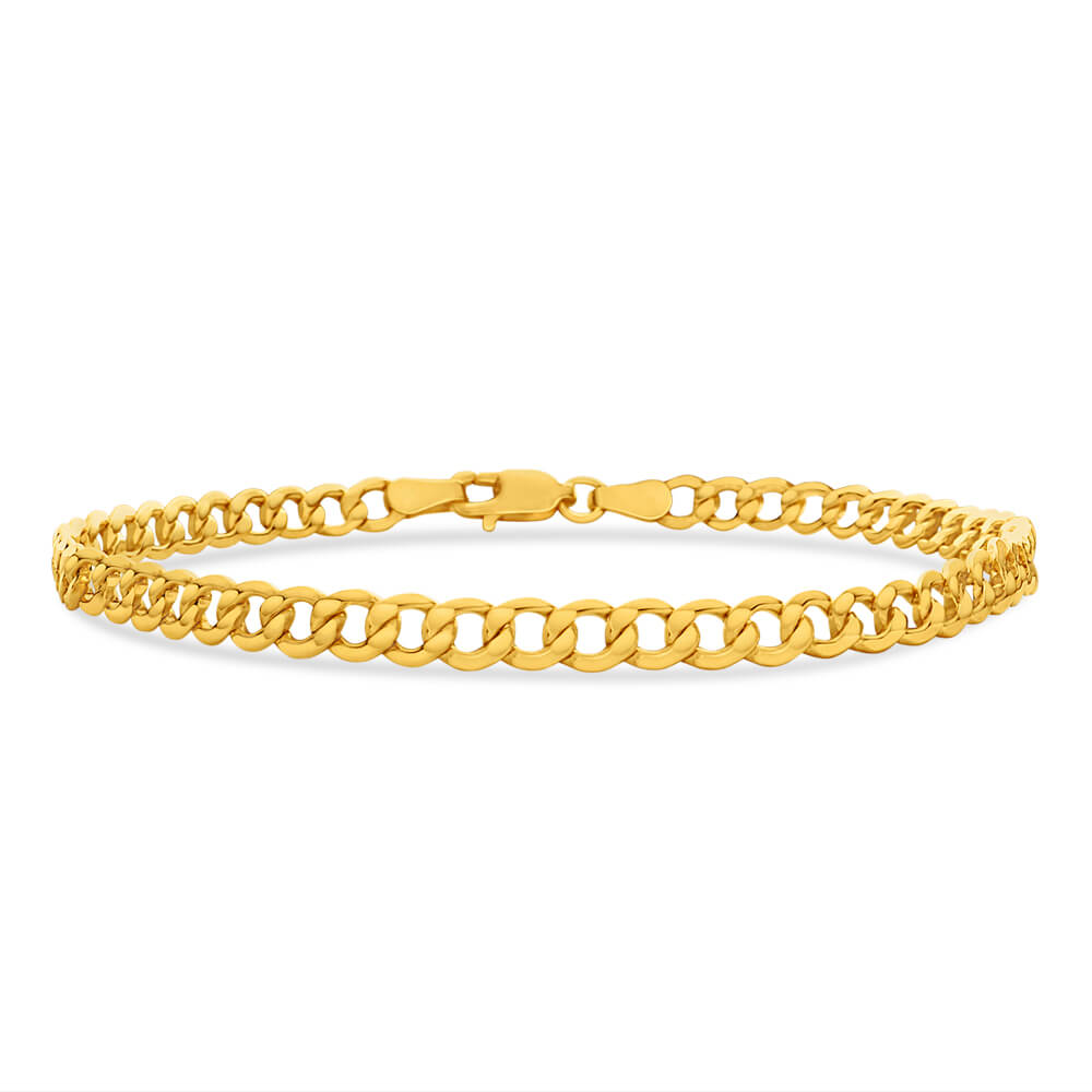 9ct Yellow Gold Silver Filled Flat 21cm Curb Bracelet