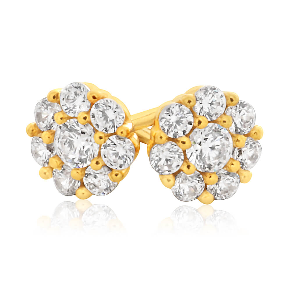 9ct Yellow Gold Silver Filled Cubic Zirconia Flower Stud Earrings