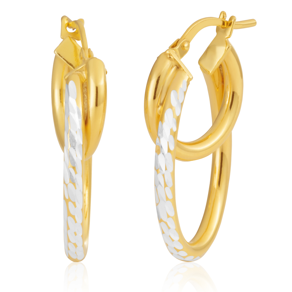 9ct Yellow Gold Silver Filled 25mm Double Hoop Earrings