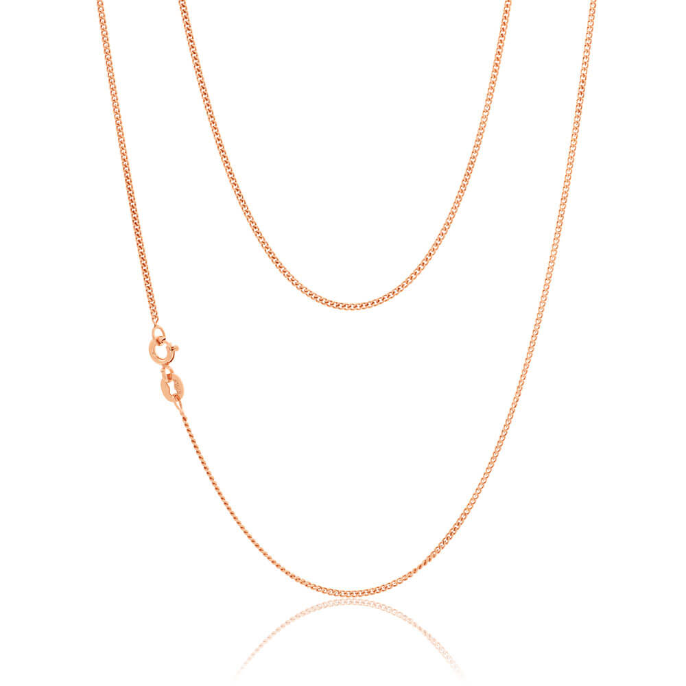 9ct Rose Gold Silver Filled 60cm Curb Chain