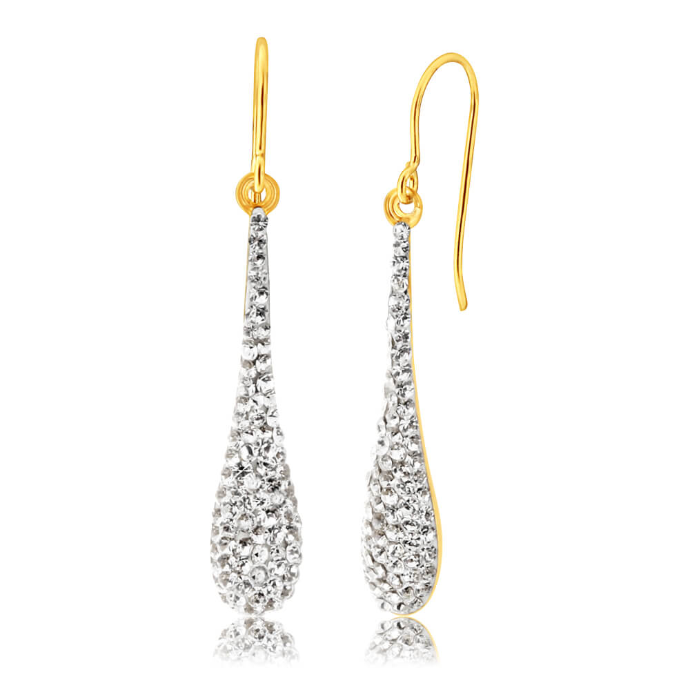 9ct Yellow Gold Silver Filled Crystal Long Drop Earrings