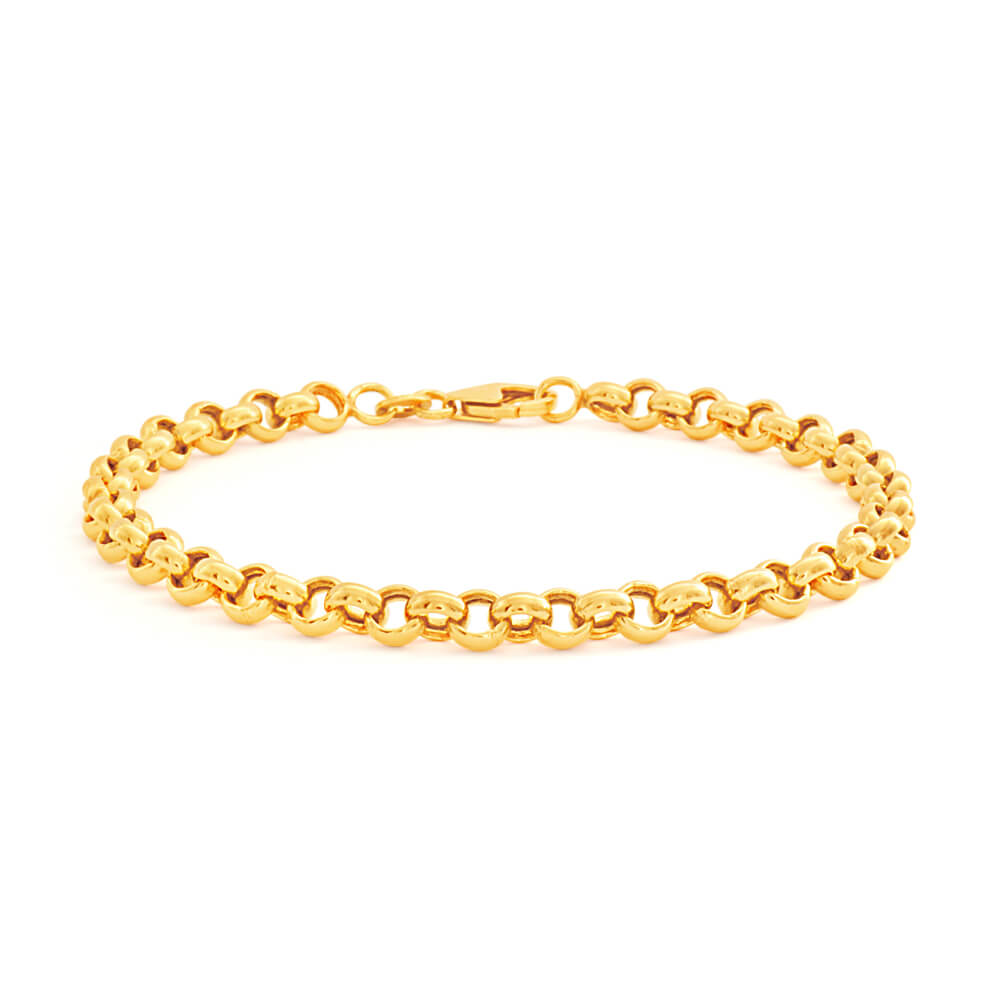 9ct Superb Yellow Gold Silver Filled Belcher Bracelet
