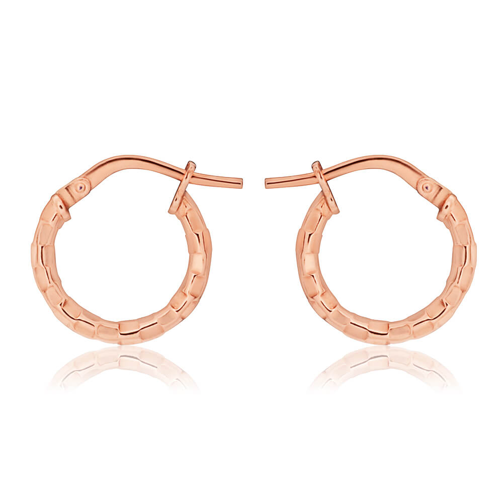 9ct Stunning Rose Gold Silver Filled Fancy Diamond Cut Hoop Earrings