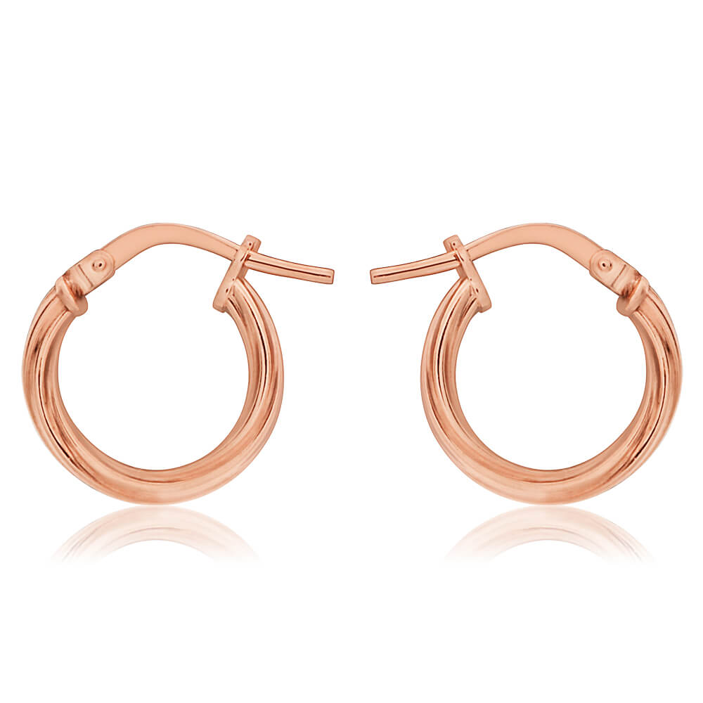 9ct Rose Gold Silver Filled Twist Hoop Earrings in 10mm
