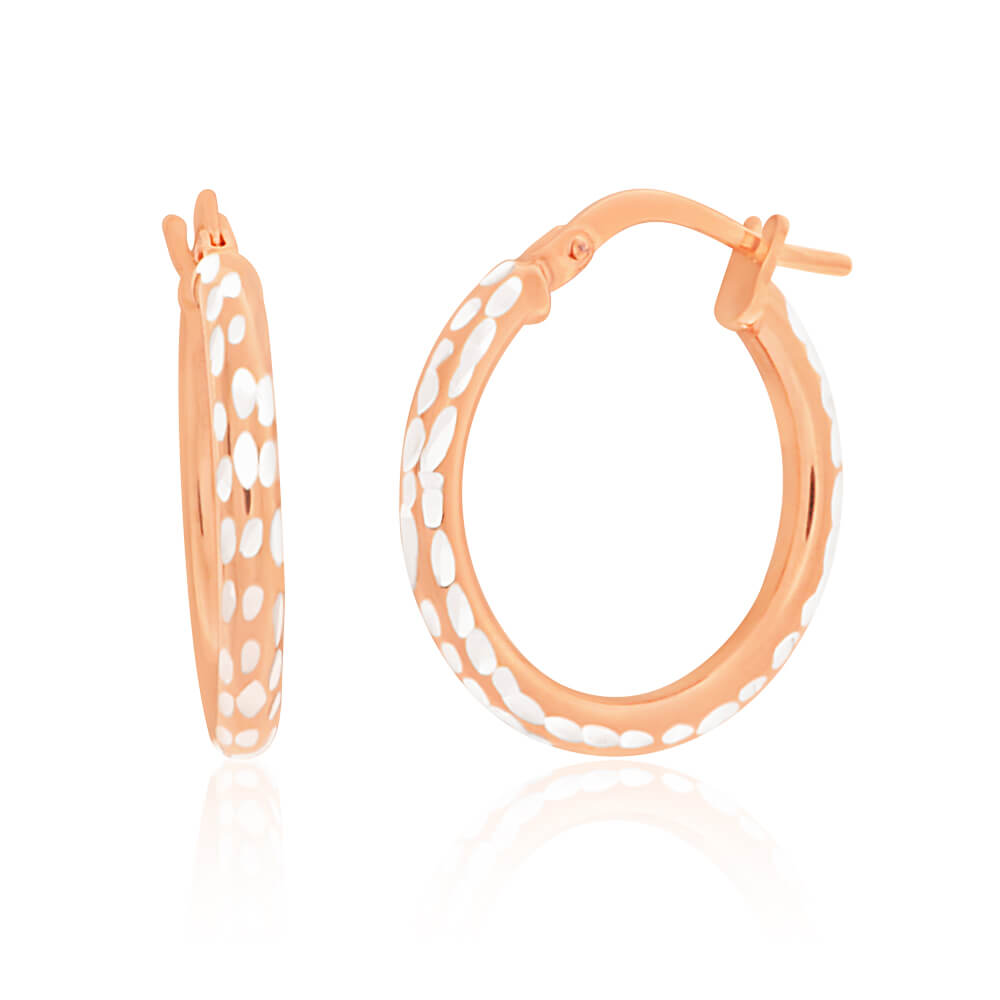 9ct Rose Gold Silver Filled 15mm Diamond Cut Hoop Earrings