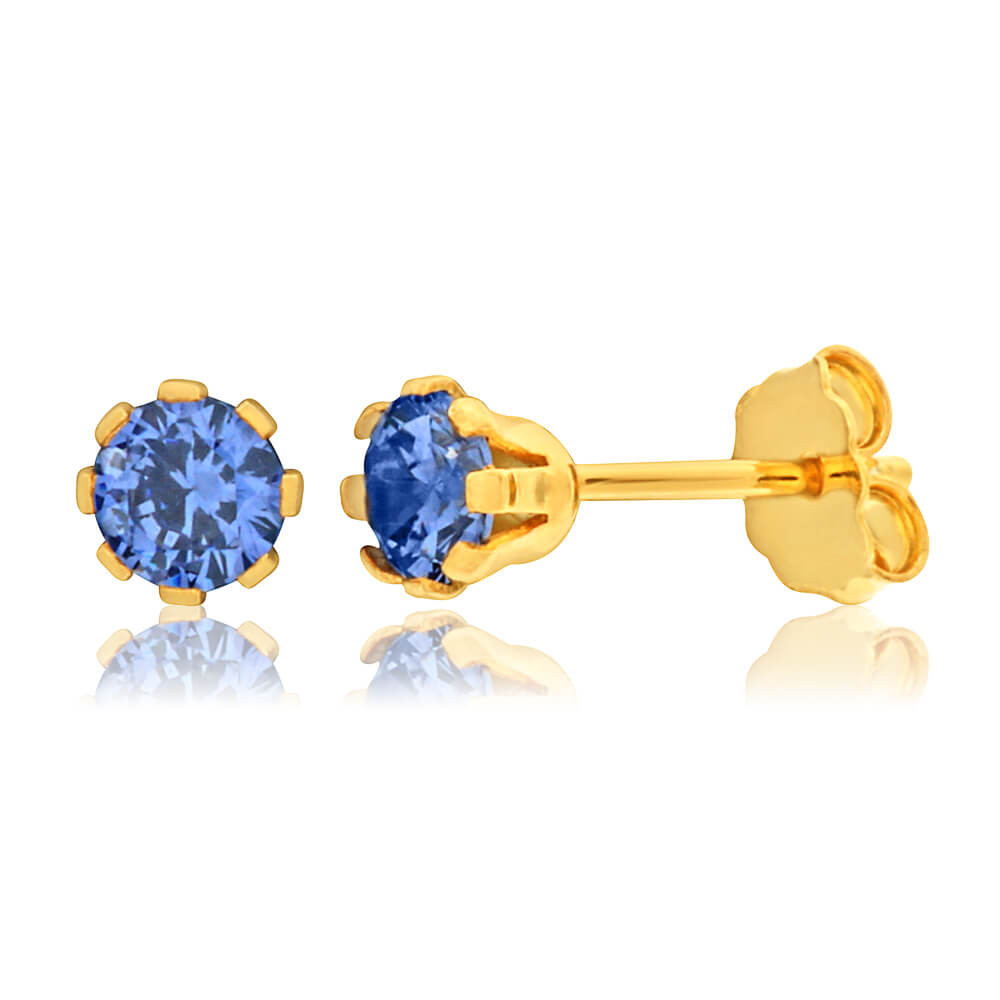 9ct Yellow Gold Silver Filled Blue Cubic Zirconia 4mm Stud Earrings