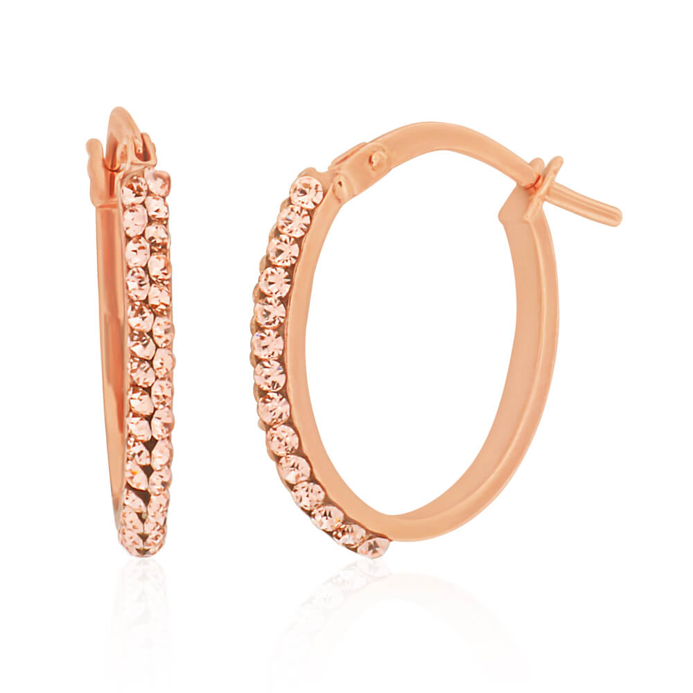 9ct Rose Gold Silver Filled Hoop Earrings with Crystals