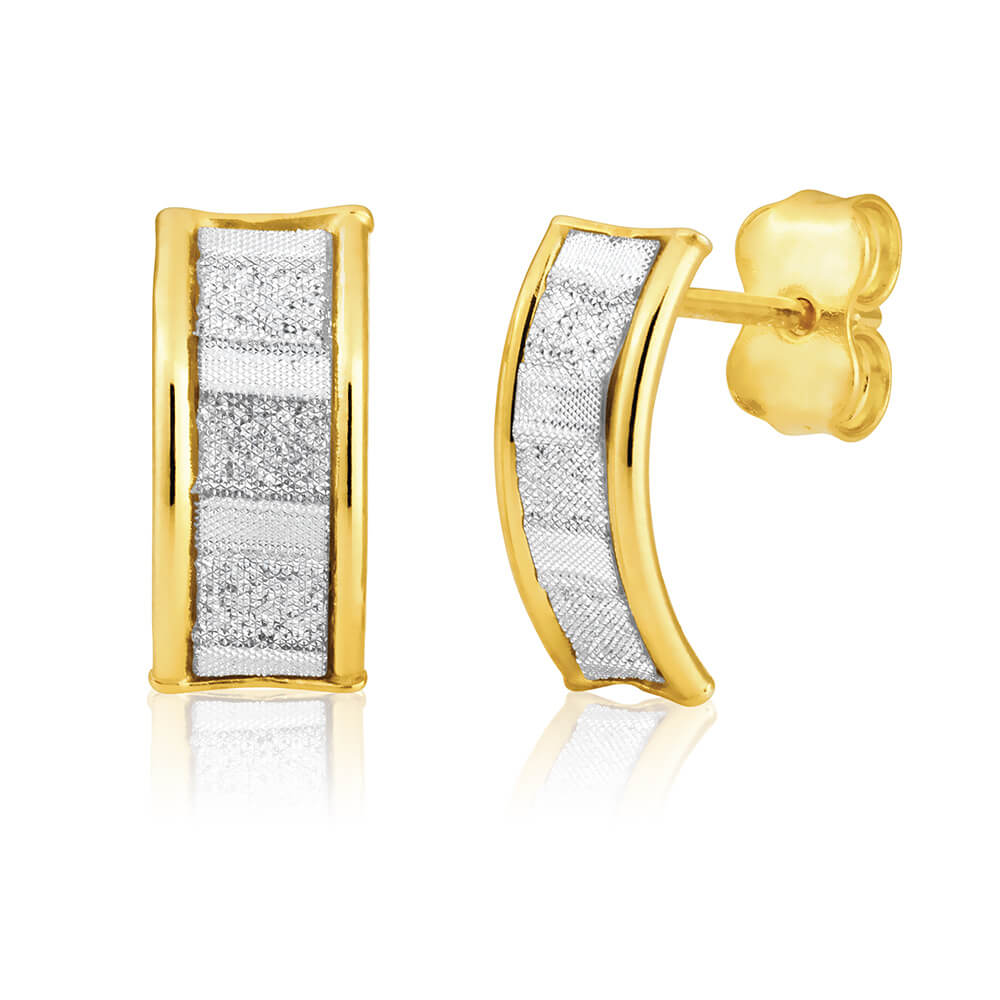 9ct Yellow Gold Silver Filled Stardust Stud Earrings