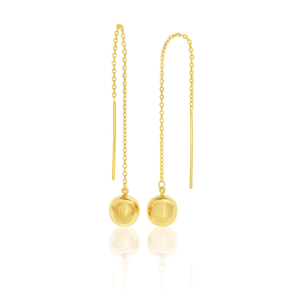 9ct Yellow Gold Silver Filled Ball Thread Drop Earrings