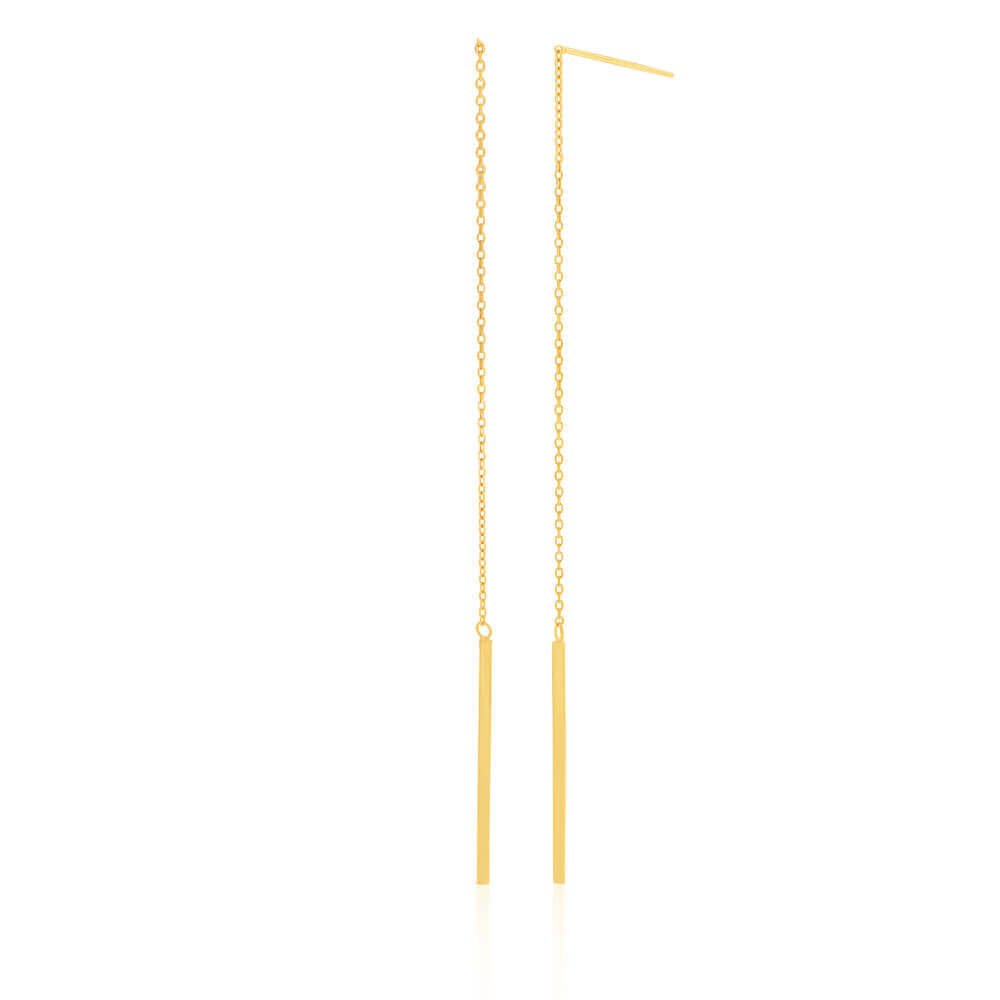 9ct Yellow Gold Silver Filled Long Thread Bar Drop Earrings
