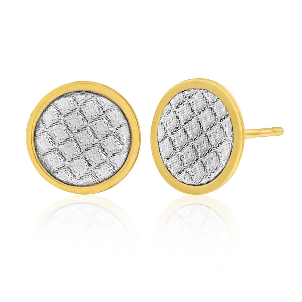 9ct Yellow Gold Silver Filled  Stardust Button Studs Earrings