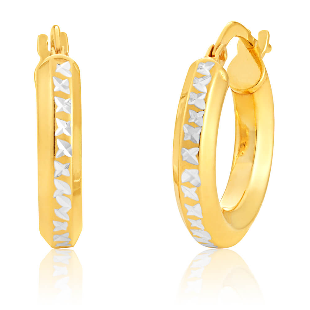 9ct Yellow Gold Silver Filled Hoop Earrings with diamond cut cross pattern feature