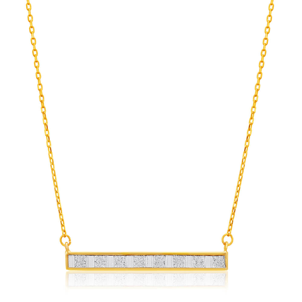 9ct Yellow Gold Silver Filled Stardust Bar Pendant With Chain