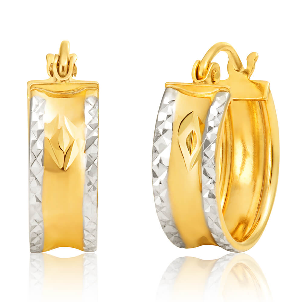 9ct Two Tone Gold Silver Filled Diamond Cut Hoops Earrings